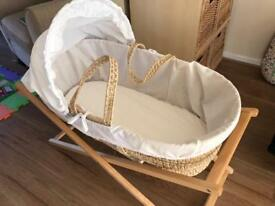 Beautiful white Moses basket and stand