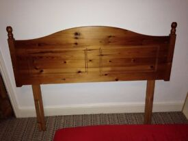 Solid Wood Double Bed Head Board. (Would look great painted/varnished).