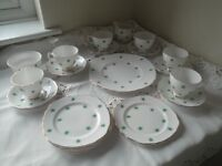 Vintage 1950's ROYAL VALE fine bone china with gilt edge trim tea set 21pcs