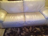 Cream leather 3 seater sofa+ a 2seater