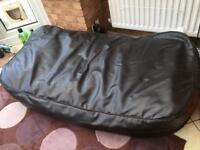 Large Chocolate brown faux leather bean bag for sale