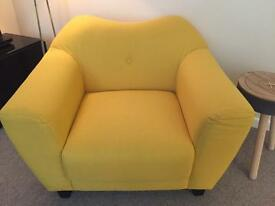Fabulously Comfortable Yellow Fabric Chair