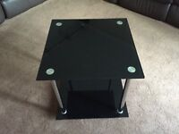 Gloss Black Glass Side Table