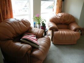 2 Comfy leather armchairs