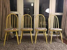 Four solid wood Ercol Style chairs Shabby Chic