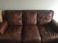 Brown leather 3 seater couch FREE