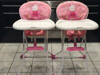 Baby highchair pink bunny - individual or as pair