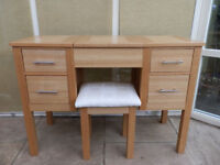 Oak Dressing Table and Stool