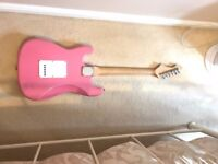 WESLEY Pink STRAT Stratocaster Electric Guitar - USED. COMES WITH ACCESSORIES