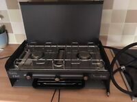 Camping double burner & grill with gas hose.
