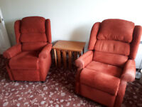 3 Piece HSL Suite - 2 recliner chairs & 2 seater settee - russet/terracotta - ideal for small space.