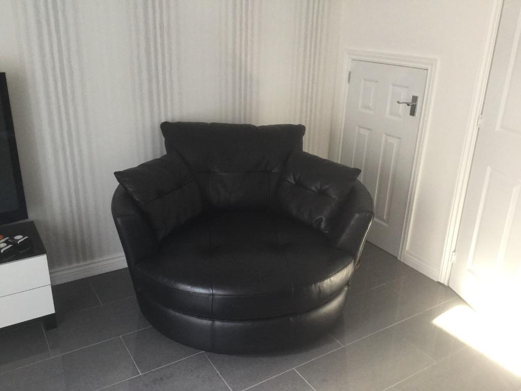 Black Leather Cuddle Chair In Paisley Renfrewshire