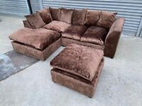FREE DELIVERY BROWN CRUSHED VELVET L-SHAPED CORNER SOFA & FOOTSTOOL GOOD CONDITION