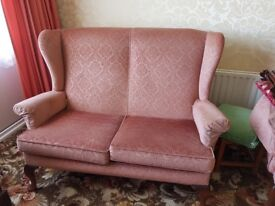 Parker Knoll 2 seat settee 2 arm chairs have fire labels arm proctectors good condition