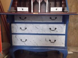 antique vintage bureau, writing/computer desk 3 drawers, blue with white vein marble finish