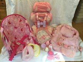 Dolls Car seat, carry cot, baby bouncer bag and accessories bundle