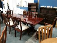 Rosewood Dining Table With Four Dining Chairs and Two carver chairs