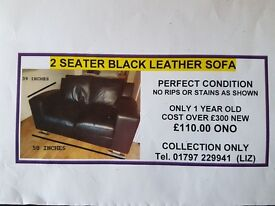2 Seater Black DFS Leather Sofa