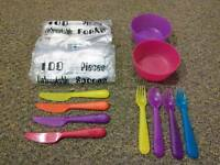 Disposable forks and spoons, free bowls and cutleries