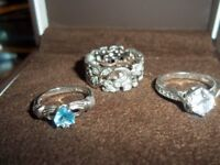 3 SILVER RINGS SIZE P L I