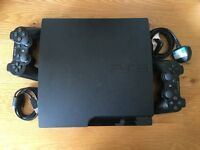 PS3 Slim 298GB, with controllers, games and cables