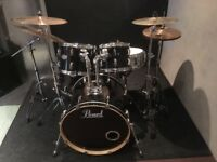 Pearl Drum Kit. 3 toms, kick and bass high hat, symbols. Great condition.