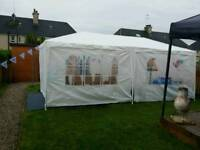 Gazebo, Groundsheet Carpet, Budweiser Fridge, 12 stackable chairs