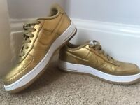 Women's Size 5 - Nike Air Force One Gold Trainers