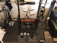 99KG Cast Iron Weights Plates, Dumbbells, Barbell, EZ Bar, Squat Rack, Squat Pads, Weight Tree