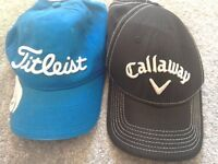 Titleist and Callaway golf caps