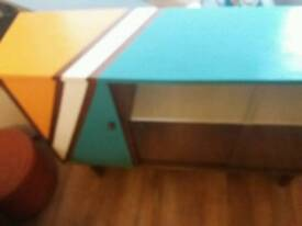 Mid Century Modern Sideboard with glass sliding doors