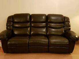 3 seater recliner brown leather sofa