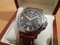 ROTARY ELITE MENS GENTS WATCH. PANERAI STYLE . Black Face Rolex Tag Omega