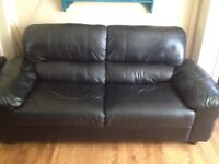 Black leather settee and chair