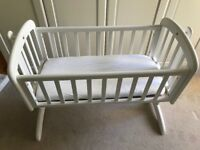 John Lewis Anna swinginging baby crib (white) - comes with mattress. Used only once!