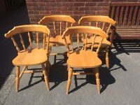 4 Pine Cottage style wrap around chairs with matching table.