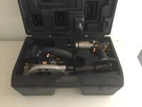Cordless hammer drill, circular saw and case
