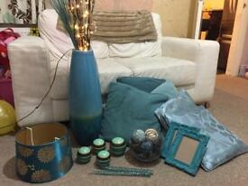 Teal living room accessories cushions frames vase etc