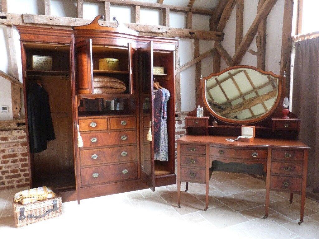 Edwardian (1901-1910) Antique Furniture The Cheapest Price Edwardian Bowfront 2 Door Oak Wardrobe With Key