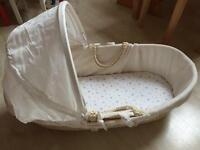 Baby Moses basket with a mattress and sheet Kiddicare