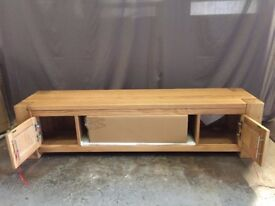 Solid Oak Wood & Glass Widescreen TV Cabinet Unit Living Room Furniture