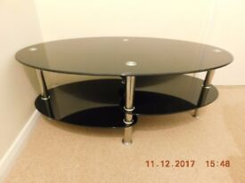 Black Glass and Chrome Oval Coffee Table