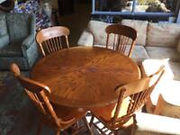 Antique pine round table and chairs