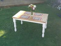 4 - 6 SEAT RUSTIC FARMHOUSE STYLE WOODEN DINING/KITCHEN TABLE