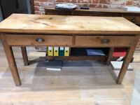 Old Solid Pine Table / Desk / Hall ? Console with two drawers and brass cup handles