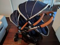 iCandy peach 3 double pushchair royal blue + 2 footmuffs + 2 liners