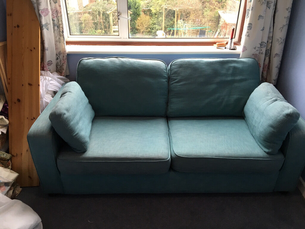 Lovely Turquoise Som Toile Sofa Bed Good Condition Smoke Free Home