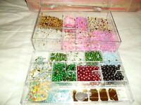 Clear plastic box of Beads for jewellery making - £6