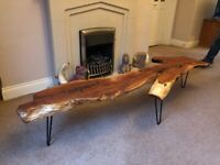 WOODEN COFFEE TABLE YEW SLAB ON HAIRPIN LEGS