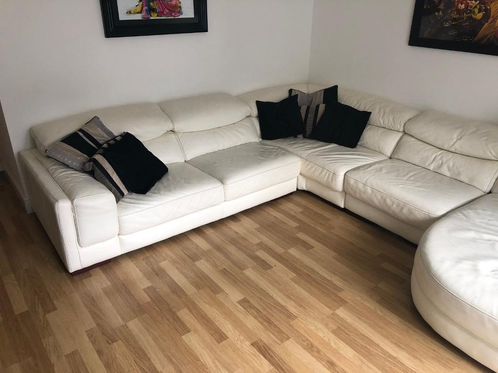 Italian White Leather L Shaped Sofa In Aberdeen Gumtree